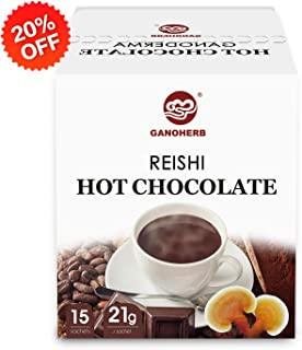 GANOHERB Hot Chocolate Mix with Reishi,Hot Cocoa,Mushroom Chocolate Packets,Made with Real Cocoa,Reishi Mushroom Powder, ORDER RISK-FREE