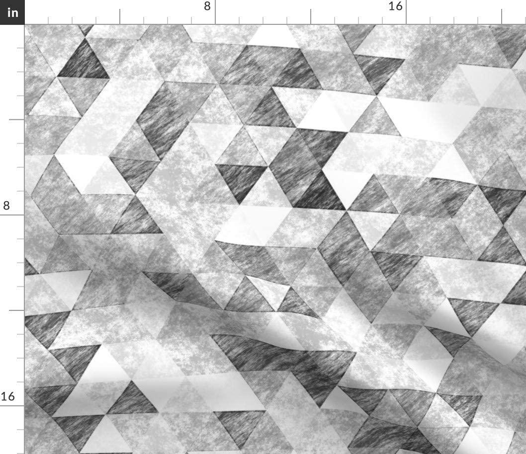 Spoonflower Fabric - Triangles Max 61% Dealing full price reduction OFF Grunge Grey Geometric Tria Pencil