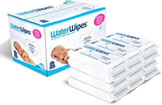 Baby Wipes, WaterWipes Sensitive Baby Diaper Wipes, 99.9% Water, Unscented & Hypoallergenic, for Newborn Skin, 12 Packs (720 Count)