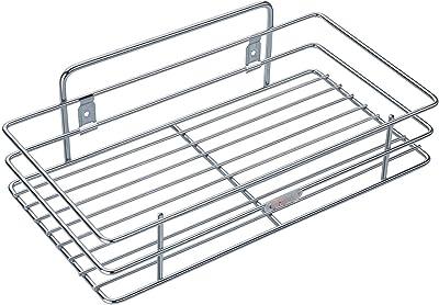 Raawan Stainless Steel Multipurpose Storage Rack/Shelf, Single Kitchen Rack, Bathroom Shelves and Racks Steel, Wall Mounted Organiser for Home