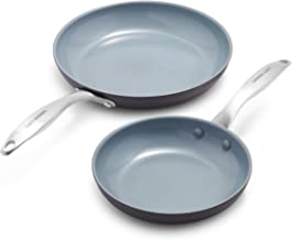 """GreenLife Classic Pro Healthy Ceramic Nonstick, Frying Pan Set, 8"""" and 10"""", Dark Gray"""
