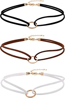 Velvet Gothic Choker Necklaces Double Layer Punk Chokers for Women and Girls, 3 Pieces