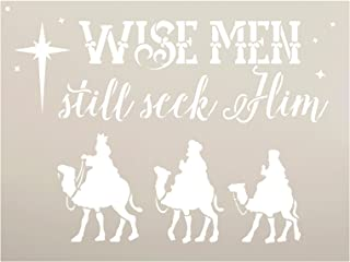 Wise Men Still Seek Him Stencil by StudioR12 | Christmas Camels Word Art - Reusable Mylar Template | Painting, Chalk, Mixe...