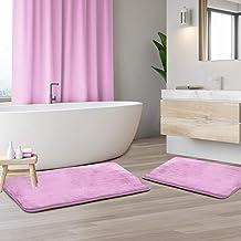 2-Pack Bath Mat Set – Large and Small Bathroom Rug Set, Absorbent Memory Foam Bath Rugs, Non-Slip, Velvet Microfiber Bathr...