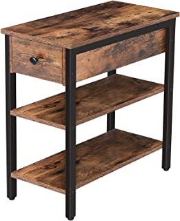 HOOBRO Nightstand, 3-Tier Narrow End Table with Drawer and 2 Storage Shelves, Industrial Side Table for Small Space, Livin...