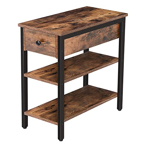 HOOBRO Nightstand, 3-Tier Narrow End Table with Drawer and 2 Shelves, Industrial Side Table for Small Space, Living Room, Bedroom, Office, Wood Look Accent Table, Rustic Brown and Black BF84BZ01