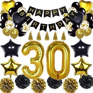 30th Birthday Decorations Balloon Banner - Happy Birthday Banner, 30th Gold Number Balloons, Black and Gold, Number 30 Birthday Balloons, 30 Years Old Birthday Decoration Supplies