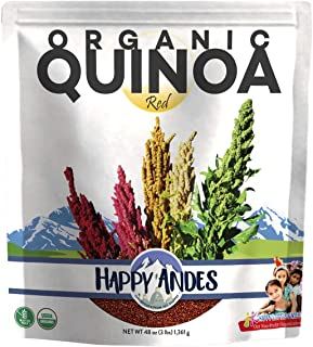 Happy Andes Red Organic Quinoa 3 lbs - Non Gluten, Whole Grain Rice Substitute - Ready to Cook Food for Oats & Seeds Recip...