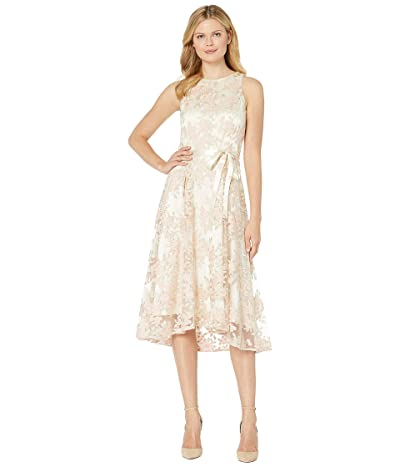Tahari by ASL Embroidered Mesh Midi Dress (Champagne/Petal) Women
