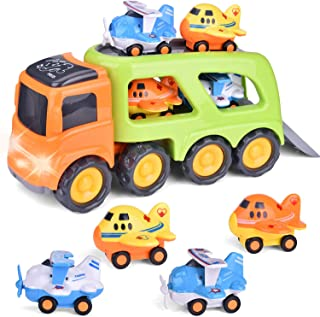 Friction Powered Car Toy Trucks with Lights and Sounds, Includes 4 Mini Cars for Kids