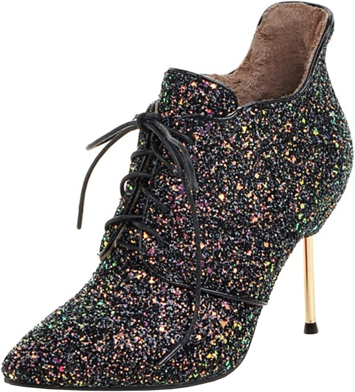 Agodor Womens Stiletto High Heels Lace up Glitter Ankle Boots with Zip Pointed Toe Modern Autumn Winter shoes