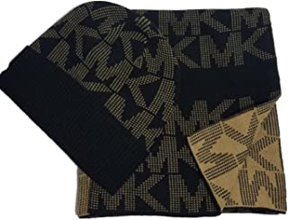 Michael Kors Signature MK Scarf & Beanie Set,Black/Camel, Fall 2017