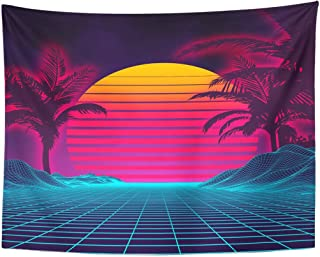 TOMPOP Tapestry Retro Futuristic Landscape 1980S Digital Cyber 80S Party Sci Home Decor Wall Hanging for Living Room Bedroom Dorm 60x80 Inches
