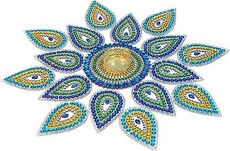 "Moira® Acrylic Rangoli with Diya (Blue) 15"" Dia"