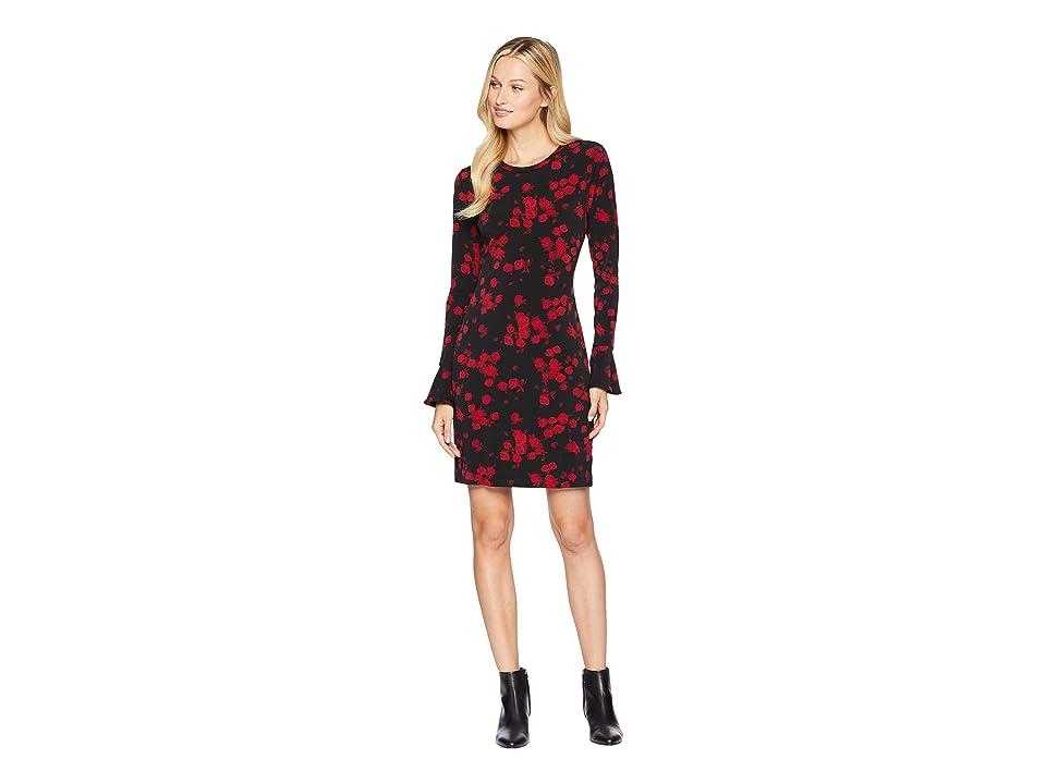 MICHAEL Michael Kors Eden Rose Flounce Dress (Black/Red Currant) Women