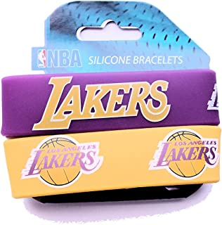 NBA Los Angeles Lakers Silicone Rubber Bracelet, 2-Pack