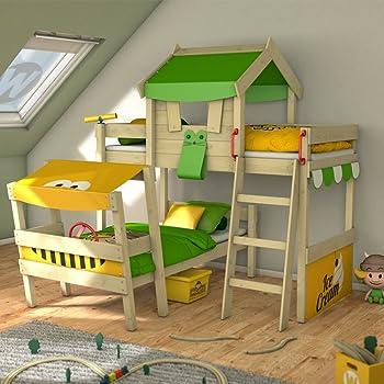 Letti A Castello Per Bambini Design.Wickey Letto A Castello Crazy Trunky Letto Per 2 Bambini Con Rete A Doghe Design Sghembo Verde Mela Giallo Amazon It Fai Da Te