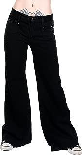Ladies 60s 70s Disco Retro Black Stretch Hippy Wide Leg BellBottoms Super Flares