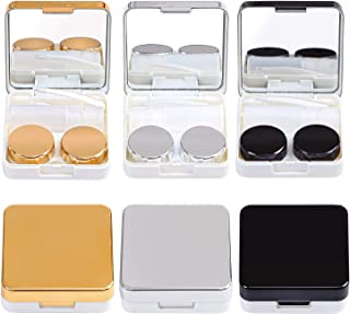 Elcoho 3 Sets Travel Contact Lens Case Kits Contact Lens Container Kit with Mirror Tweezers Tools Left/Right Eyes Contact Lens Holder (Black, Silver, Gold)