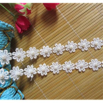 3 YDS FLORAL DAISY LACE TRIMMING 25MM DAISY CHAIN CROCHET DRESSMAKING RIBBON