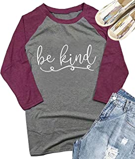Be Kind Shirt Kindness T-Shirt Women Funny Inspirational 3/4 Sleeve T Shirt Christian Teacher Fall Shirts Tops