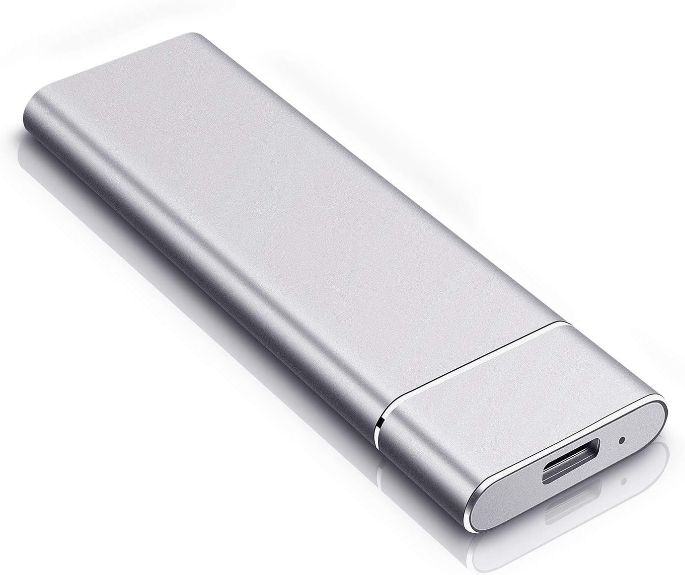 External Hard Drive, Portable Hard Drive External HDD Durable USB 3.1 for PC, Mac, Desktop, Laptop (2TB, Silver)