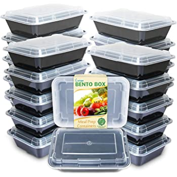 Enther Meal Prep Containers Single Lids, Food Storage Bento BPA Free | Stackable | Reusable Lunch Boxes, Microwave/Dishwasher, Freezer Safe,Portion Control (28 oz), 20 Pack 1 Compartment