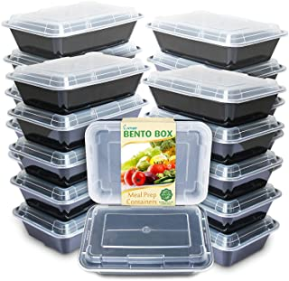 Enther Meal Prep Containers [20 Pack] Single 1 Compartment with Lids, Food Storage Bento Box   BPA Free   Stackable   Reus...