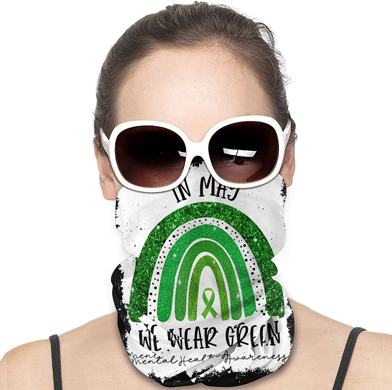 In May We Wear Green Mental Health Awareness Round Neck Gaiter Bandnas Face Cover Uv Protection Prevent bask in Ice Scarf Headbands Perfect for Motorcycle Cycling Running Festival Raves Outdoors
