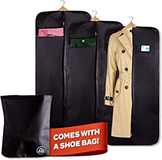 """Mr & Mrs Smith 50"""" Travel Garment Storage Bags - 3 Carry On Breathable Garment Bags for Men Suit, Wedding Dress or Clothes Plus 1 Shoe Bag, with Clear Viewing Window & Full Length Steel Zipper"""