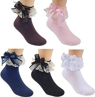 TOMYEER, Calcetines de encaje para vestido con lazo, estilo princesa lindo, para niñas