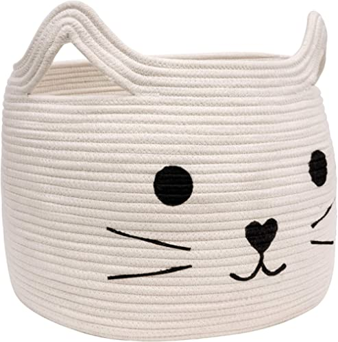 HiChen Large Woven Cotton Rope Storage Basket, Laundry Basket Organizer for Towels, Blanket, Toys, Clothes, Gifts | P...