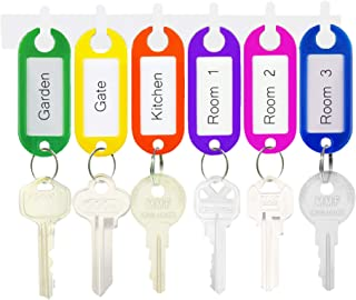 50 Colorful Plastic Key Tags - Customizable Removable Card Label for Identification - Multifunctional Organizer - with Rou...