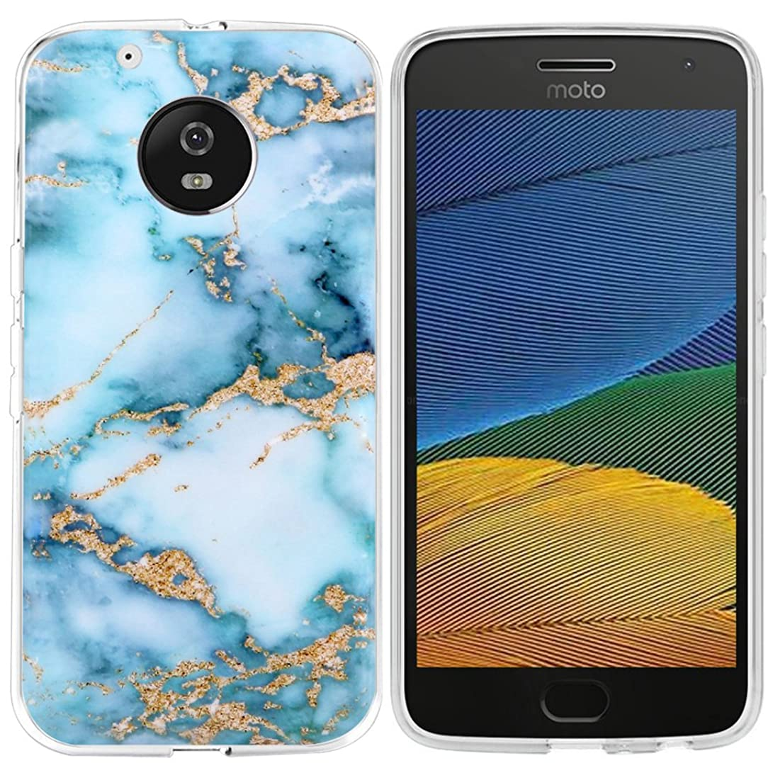 Case for Moto G5 Plus & MUQR Replacement Rubber Gel Silicone Slim Drop Proof Protection Compatible Protector for Motorola G5 Plus 5th Generation & Blue Marble Pattern Granite