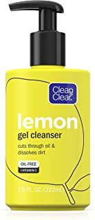 Clean & Clear Brightening Gel Facial Cleanser with Lemon Extract and Vitamin C to Cleanse Oil and Dissolve Dirt, Oil-Free Vitamin C Cleansing Gel Face Wash, 7.5 oz
