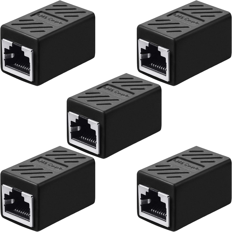 Acoplador RJ45, Adaptador de Extensión Ethernet Conector de Red para Cat7/ Cat6/ Cat5e/ Cat5 Acoplador de Cable de Red de Ethernet Hembra a Hembra (Negro, 10 Piezas)