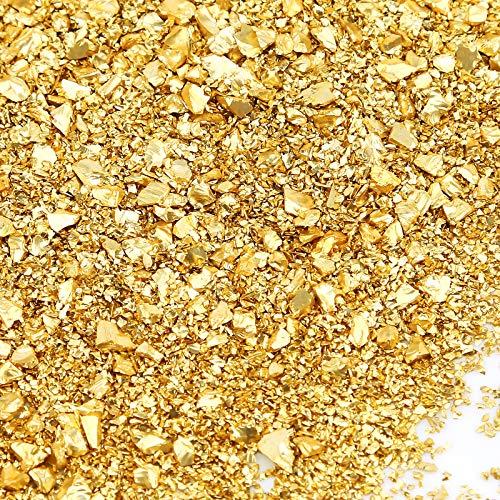 AIEX 100g 1-5 mm Cristal Triturado, Cristal Metálico Triturado Reflectante Chips de Cuentas con Purpurina para Bricolaje, Resina, Relleno de Jarrones de Uñas, Joyería, Artesanía, Decoración (Oro)