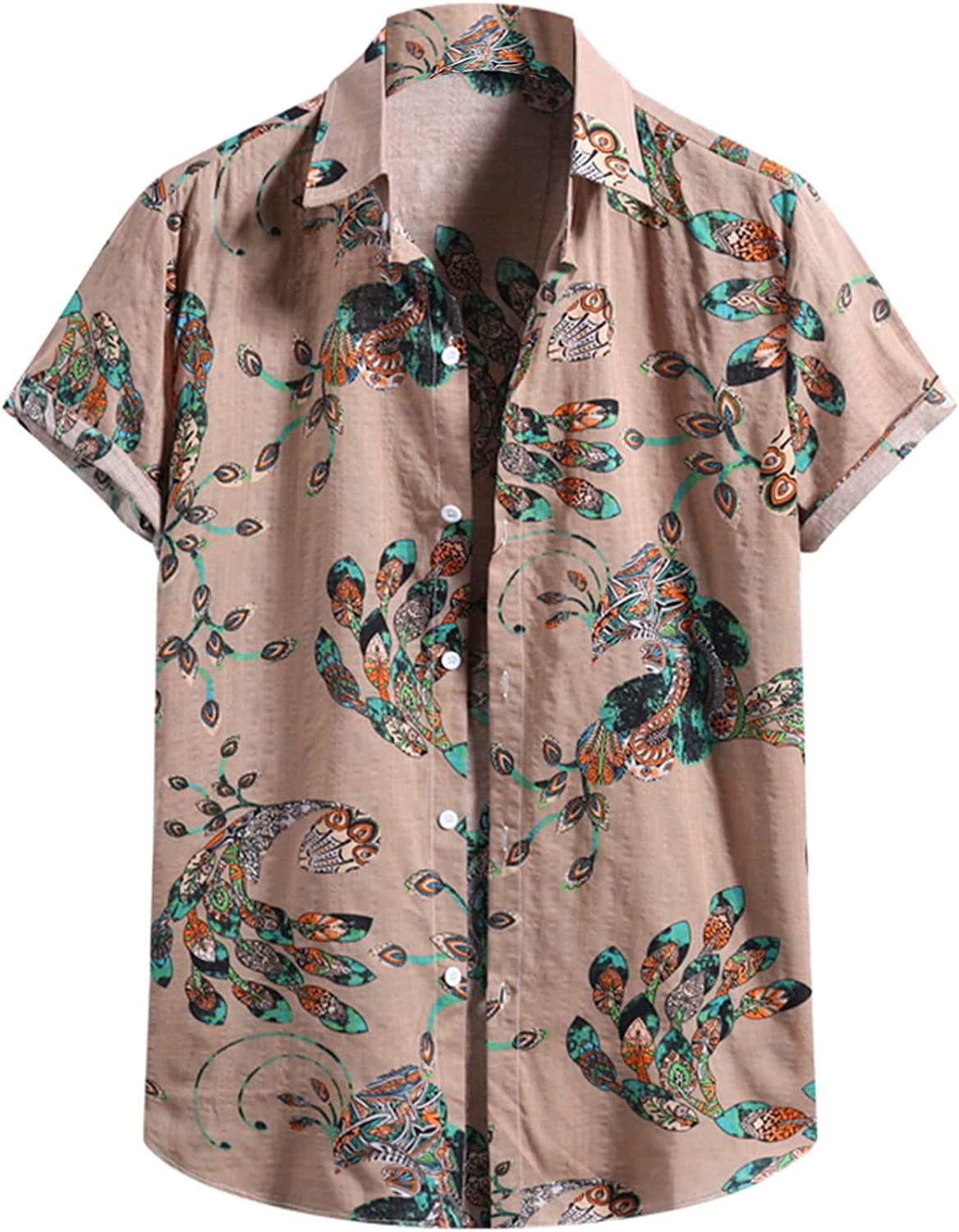 2021 Men's Short Sleeve Shirts Cotton Linen Printed Hawaiian Casual Button Down Flower Beach Party Holiday Blouses Tops