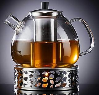 Zoë&Mii 1500 ml szklany dzbanek do herbaty z pokrywką, szklany dzbanek i podgrzewacz, do herbaty liściastej – prezent – za...