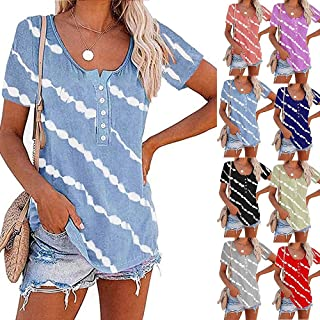 XWLY Women Tops Simplicity Fashion Summer Round Neck Women Blouse Unique Buttons White Oblique Stripes Design Daily Casual...