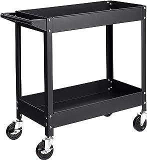 AmazonBasics Steel 2-Shelf Multipurpose Tub Utility/Supply Cart with 400-Pound Capacity - Black
