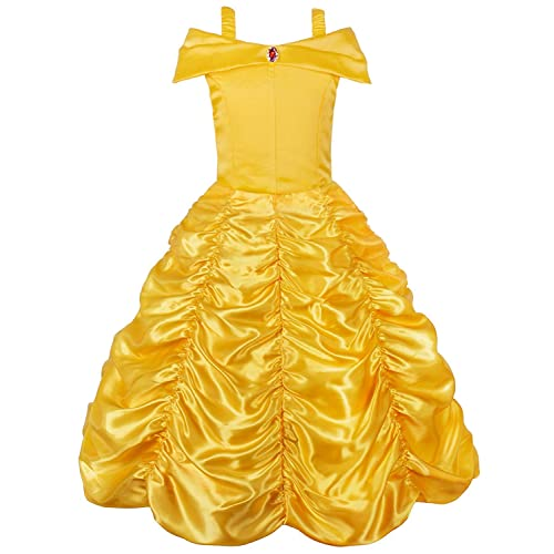 79528d52c JerrisApparel Princess Belle Off Shoulder Layered Costume Dress for Little  Girl