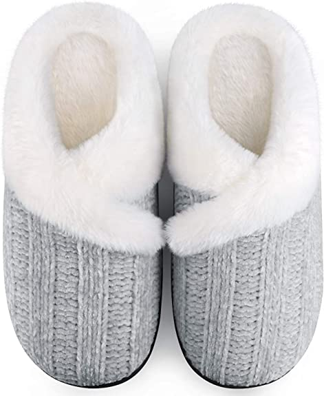 Homitem Women's Memory Foam Slippers Slip on House Slipper Women Outdoor Indoor Warm Fuzzy Fleece Lining Bedroom Comfy Home Shoes with Anti-Skid Rubber Sole Shoes