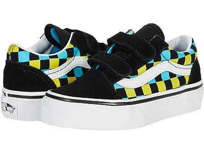 Vans Kids Old Skool V (Little Kid) ((Neon Glow Check) Black/Multi) Boys Shoes