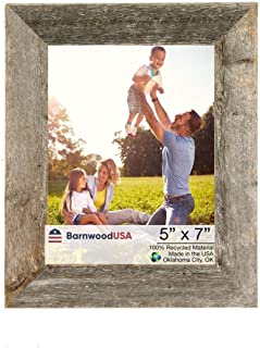 BarnwoodUSA Rustic 5 by 7 Inch Photo Frames 1 1/2 Inch Wide - 100% Reclaimed Wood, Weathered Gray