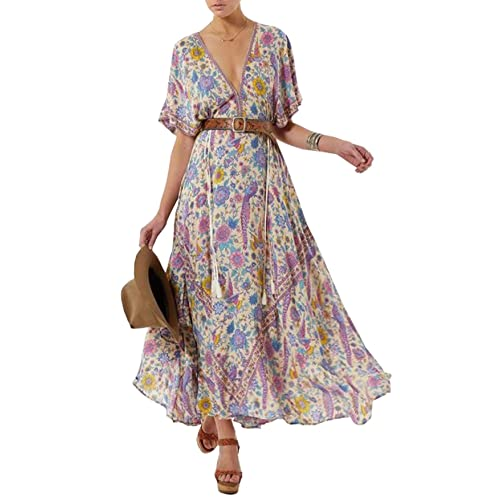 f5175cd8ee69 R.Vivimos Women Summer Print Deep V Neck Cotton Beach Long Dresses