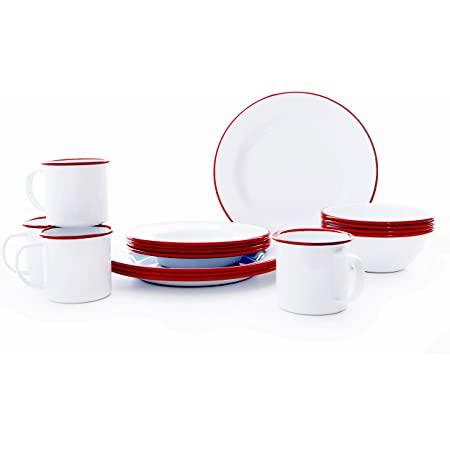 Enamelware 16 Piece Dinnerware Starter Set - Solid White with Red Trim