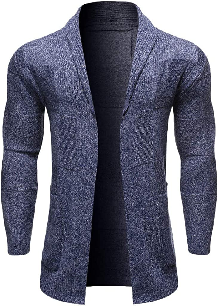 Men's Slim Fit Lightweight Long Sleeve Cardigan Sweaters Open Front Cardigans Trench Jacket