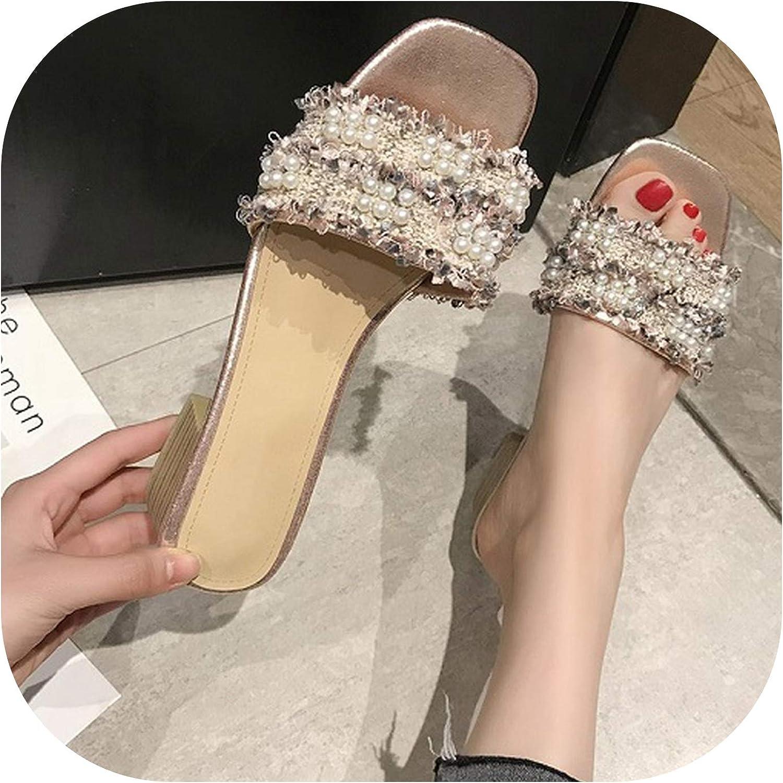 Heart to hear slippers summer Spring Elegant Tweed Bead Flip Flops Mid-Heels Womens Mules Slip on Indoor,