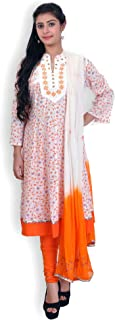 WHITE & ORANGE COTTON ANARKALI SUIT WITH CHIKANKARI WORK